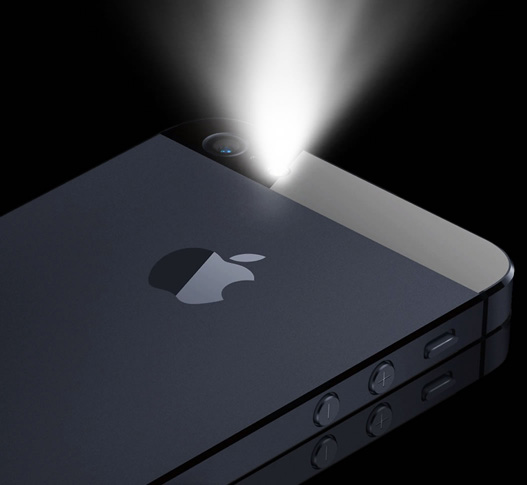 iPhone 5S with flashlight